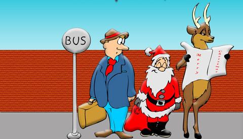 Дядо Коледа и елен чакат автобус