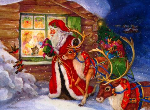 Дядо Коледа - Коледни картички за деца - Картички и Пожелания за Празници - Kartichki.bg