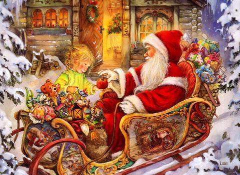 Дядо Коледа дава подарък - Коледни картички за деца - Картички и Пожелания за Празници - Kartichki.bg