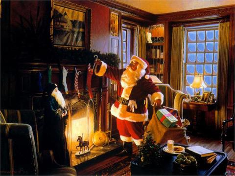 Дядо Коледа дава подаръци