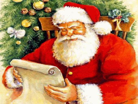 Дядо Коледа чете писмо